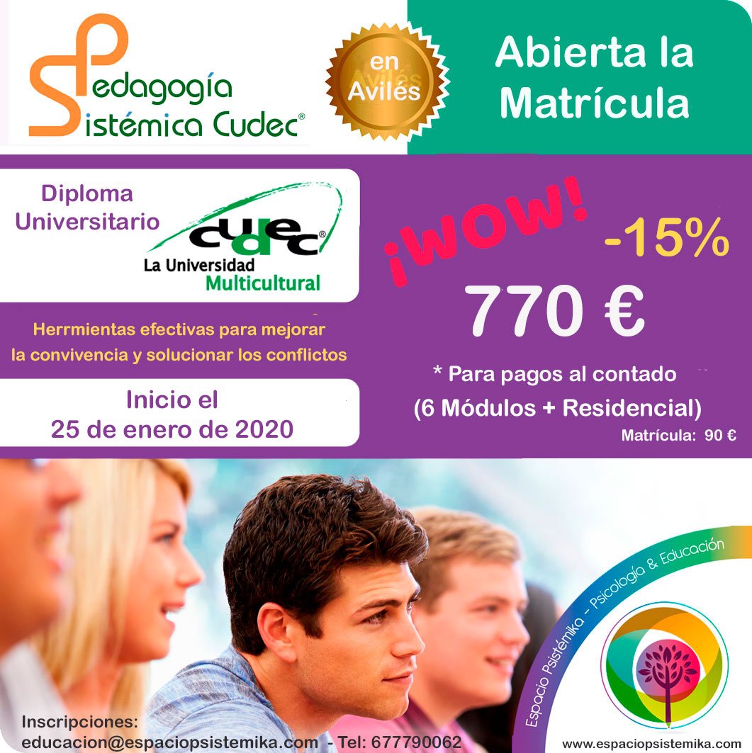Diploma de Pedagogía Sistémica Cudec en Avilés.